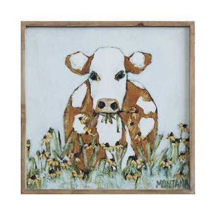"20"" Framed Cow Canvas"