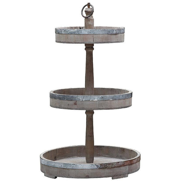 Wood & Metal Tiered Tray