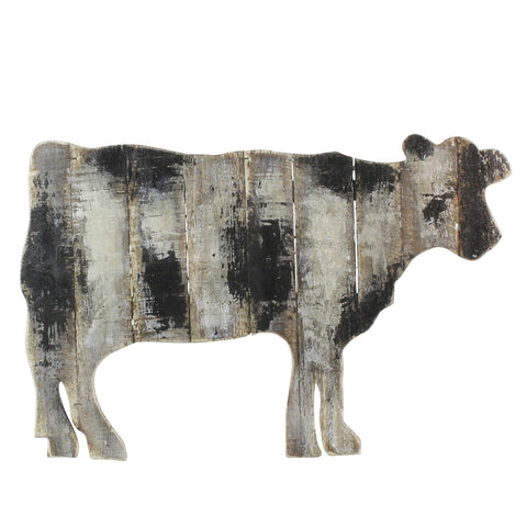 Antiqued Wood Slat Cow