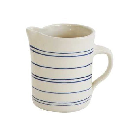 Blue Striped Stoneware Pitcher