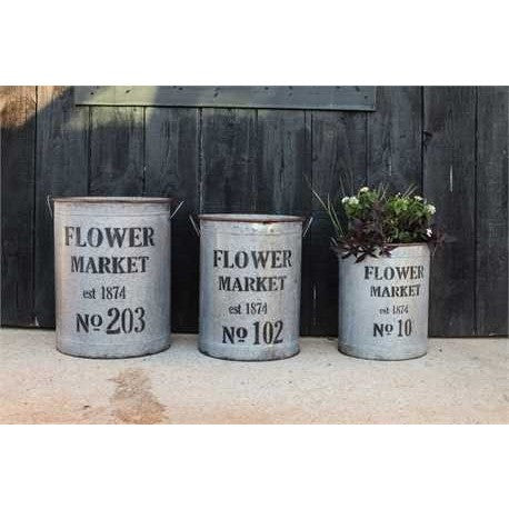 Metal Flower Market Buckets S/3