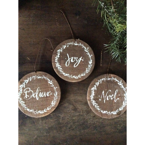 Joy, Believe, Noel Wood ornaments