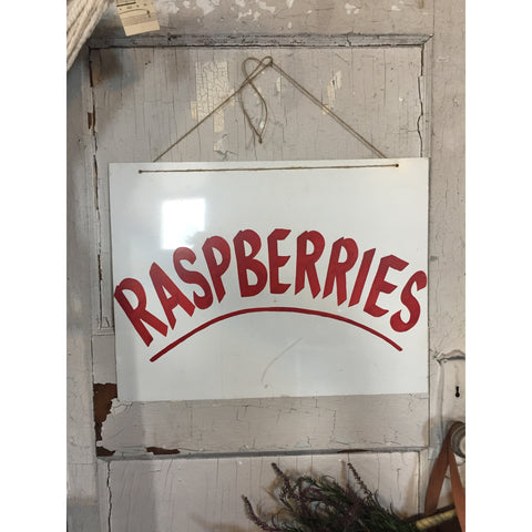 Herb Plants & Raspberries Sign