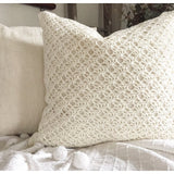 Hand Made White Crochet Pillow Cover