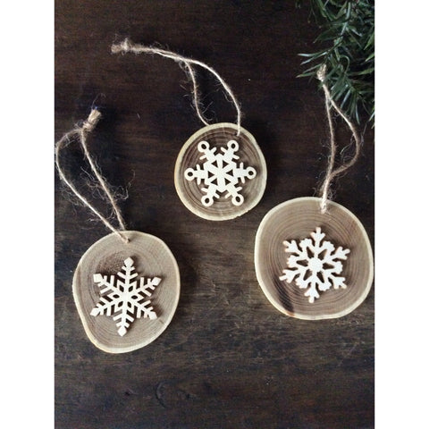 Wood slice ornaments - Set of 3