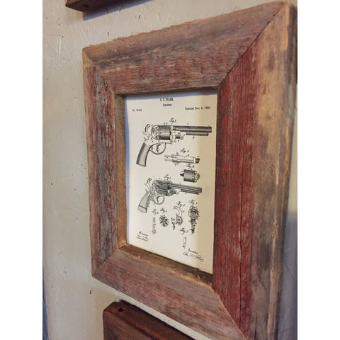 Barnwood Frame with Vintage Patent Print