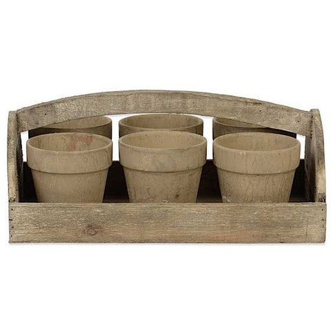 Wooden Carrier with Pots