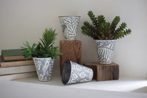 Set of Pressed Metal Flower Buckets