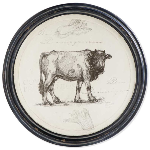 Round Cow Wall Hanging