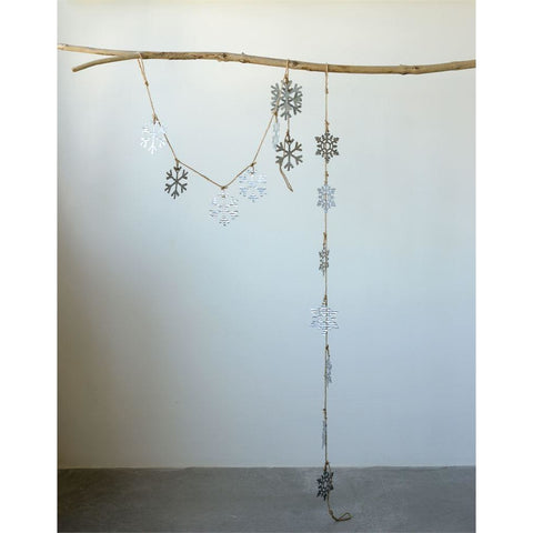 Tin Snowflake Garland Set of 2
