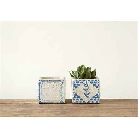 Cement Tile Planters Set of 2