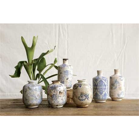 Transferware Terra Cotta Vases - Set of 3