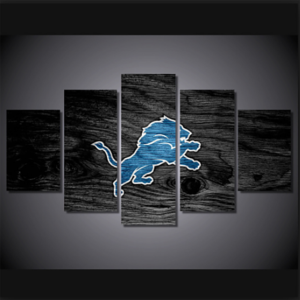 Detroit Lions Wooden Canvas