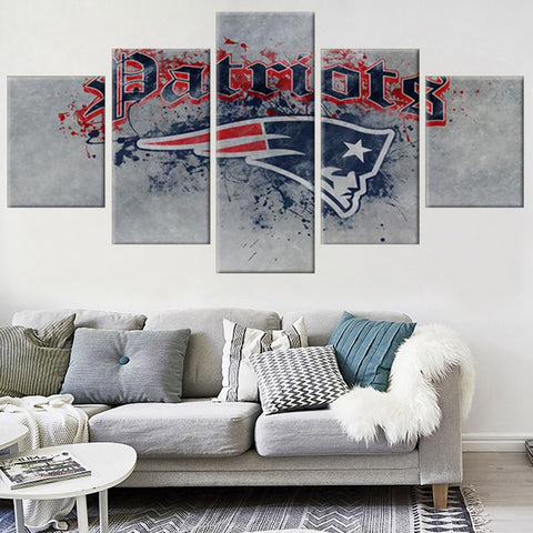 New England Patriots Paint Splash Canvas