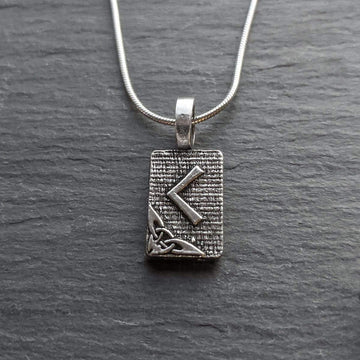 Celtic Knot Works Jewelry Kenaz Rune Pendant – Torch, Fire, Knowledge – Ancient Traditions