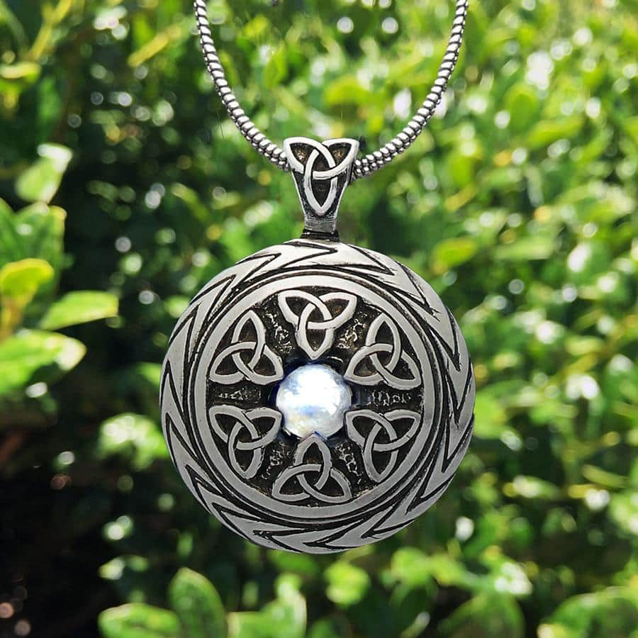 Celtic Knot Works Jewelry Limited Edition! Triquetra Pendant with Moonstone – Celtic Traditions