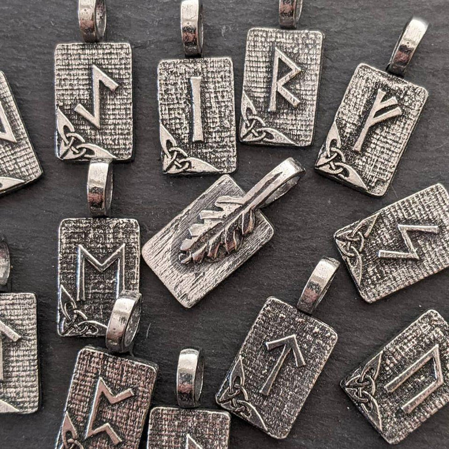 Celtic Knot Works Jewelry Manaz Rune Pendant – Relationship, Humanity, Family – Ancient Traditions