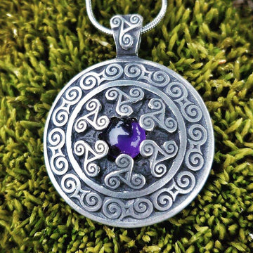 Celtic Knot Works Jewelry Triskele Pendant with Amethyst – Celtic Traditions
