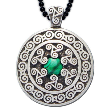 Celtic Knot Works Jewelry Triskele Pendant with Malachite – Celtic Traditions