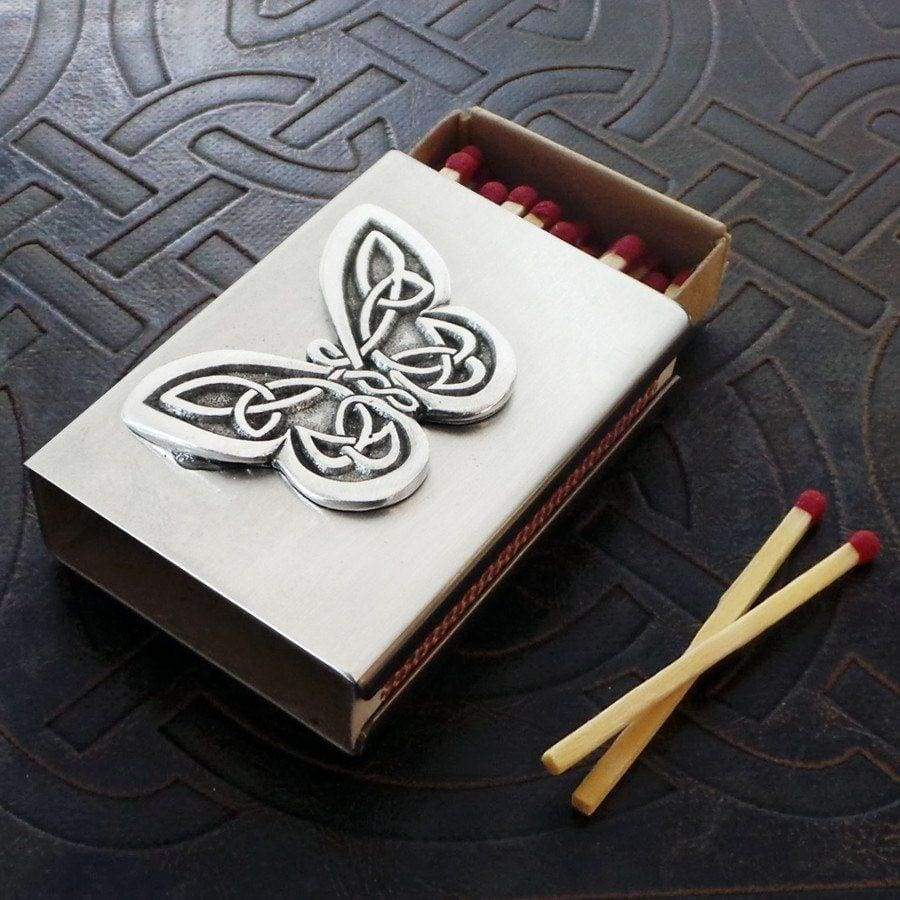 Celtic Knot Works Matchbox Celtic Butterfly Match Box in Stainless Steel