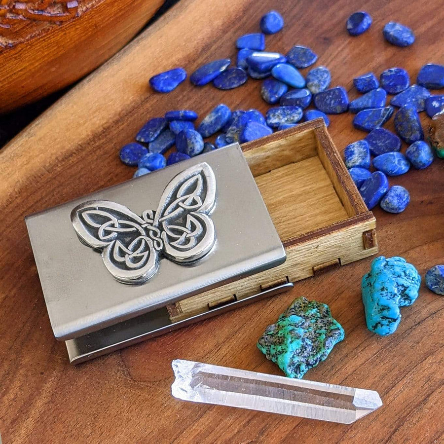 Celtic Knot Works Matchbox Celtic Butterfly Treasure Box in Stainless Steel