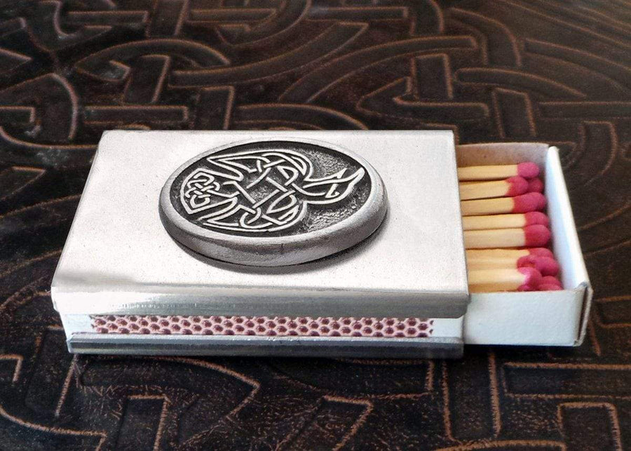 Celtic Knot Works Matchbox Celtic Raven Match Box in Stainless Steel