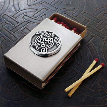Celtic Knot Works Matchbox Celtic Turtle Match Box in Stainless Steel
