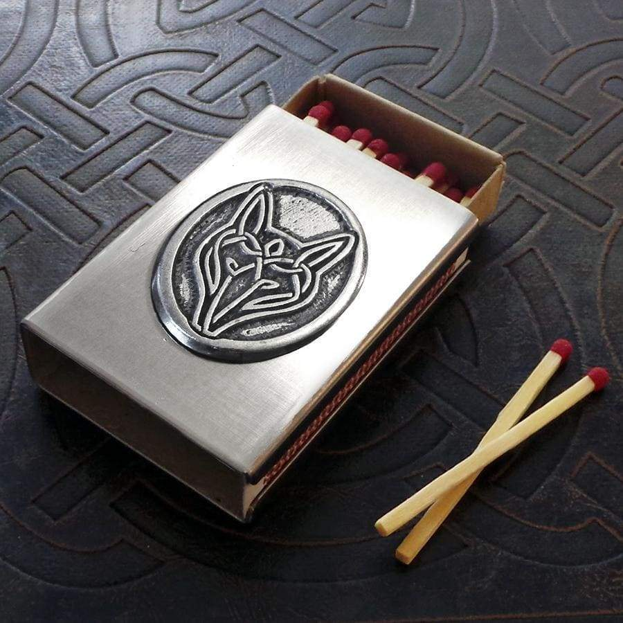 Celtic Knot Works Matchbox Celtic Wolf Match Box in Stainless Steel