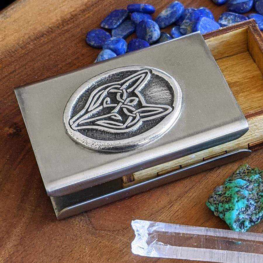 Celtic Knot Works Matchbox Celtic Wolf Treasure Box in Stainless Steel