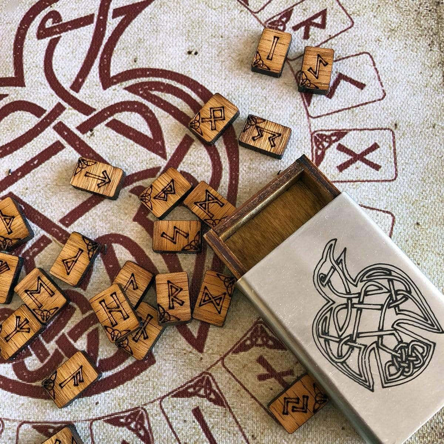 Celtic Knot Works Matchbox Oak Travel Rune Gift Set Pocket Travel Rune Oak Gift Set in Celtic Raven Stainless Steel box with travel rune cloth