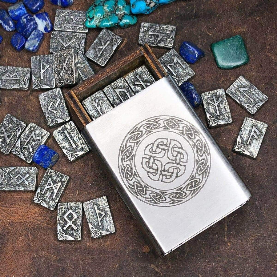 Celtic Knot Works Matchbox Travel Rune Gift Set Pewter Travel Rune Gift Set Celtic Knot Stainless Steel box WITH TRAVEL RUNE CLOTH