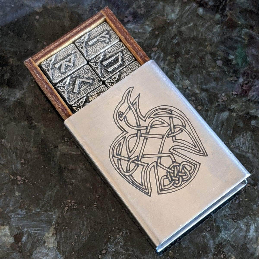 Celtic Knot Works Matchbox Travel Rune Gift Set Pewter Travel Rune Gift Set in Celtic Raven Stainless Steel box with Travel Rune Cloth