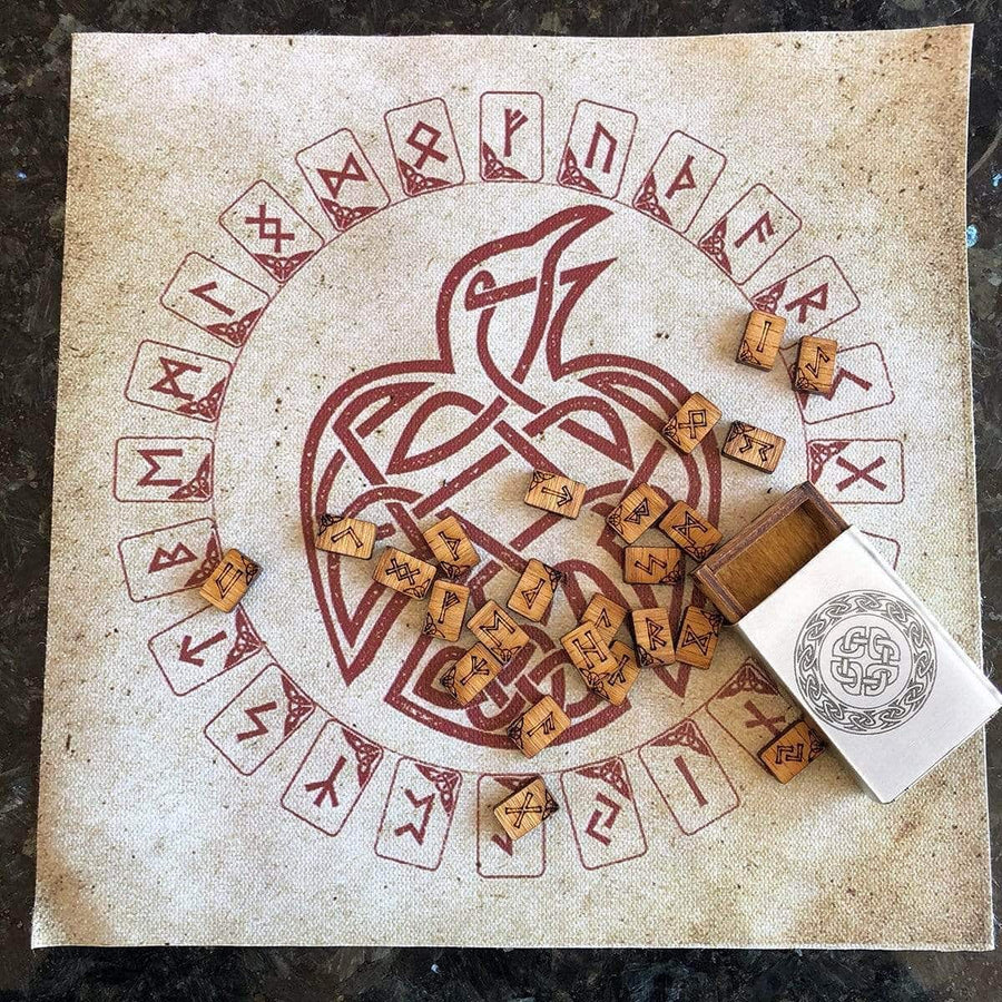Celtic Knot Works Matchbox Travel Rune Gift Set Pocket Travel Oak Rune Gift Set in Celtic Knot Stainless Steel box with travel rune cloth