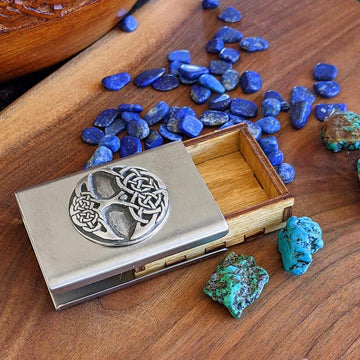 Celtic Knot Works Matchbox Tree of Life Treasure Box in Stainless Steel