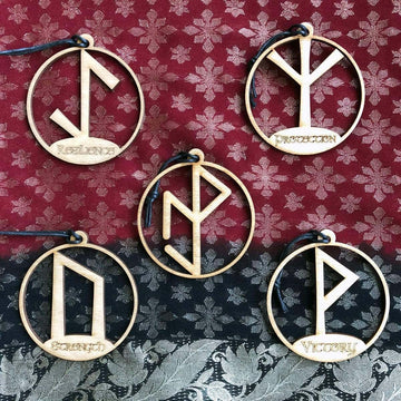 Celtic Knot Works Ornaments Set of 5 Yule Tides Viking Rune Ornaments