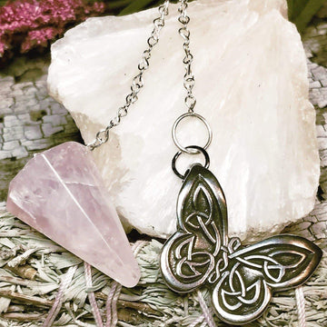 Celtic Knot Works Pendulum Celtic Butterfly Pendulum - Rose Quartz