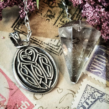 Celtic Knot Works Pendulum Celtic Owl Pendulum - Smokey Quartz