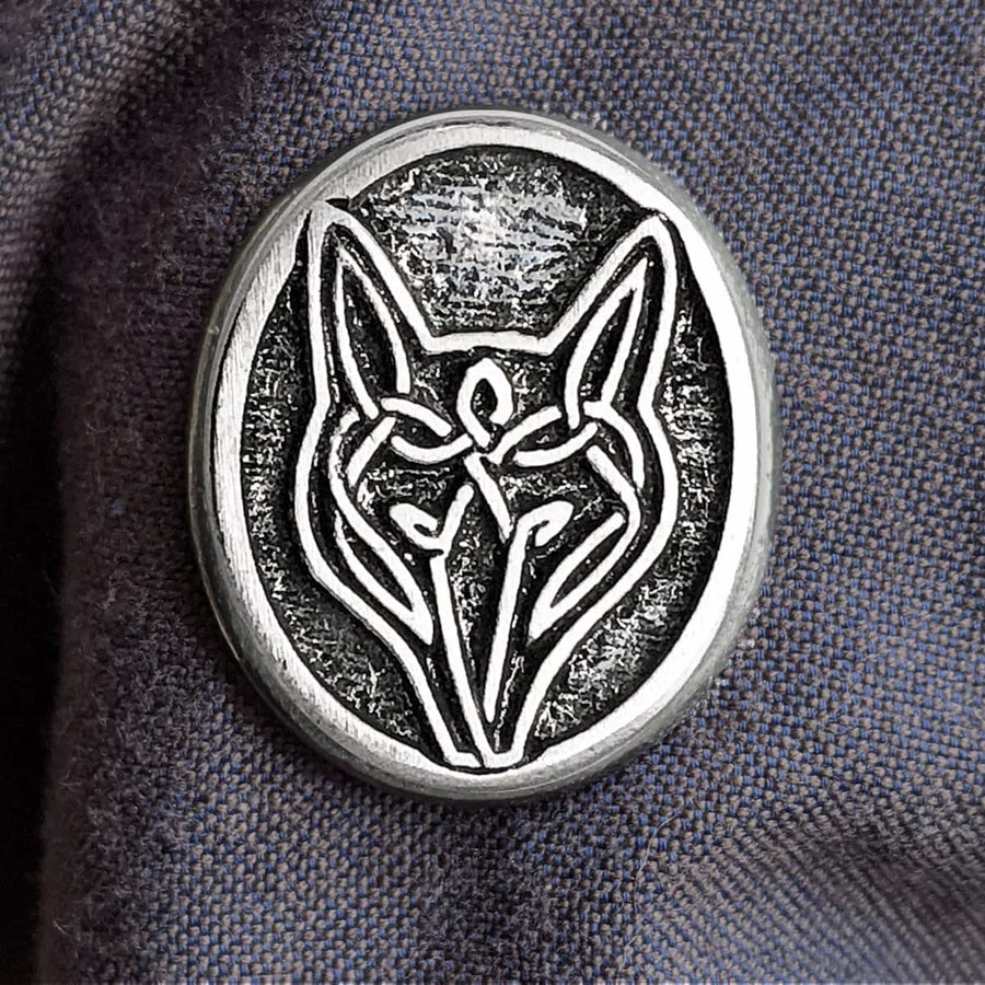 Celtic Knot Works Pin Celtic Wolf Pewter Pin - 1