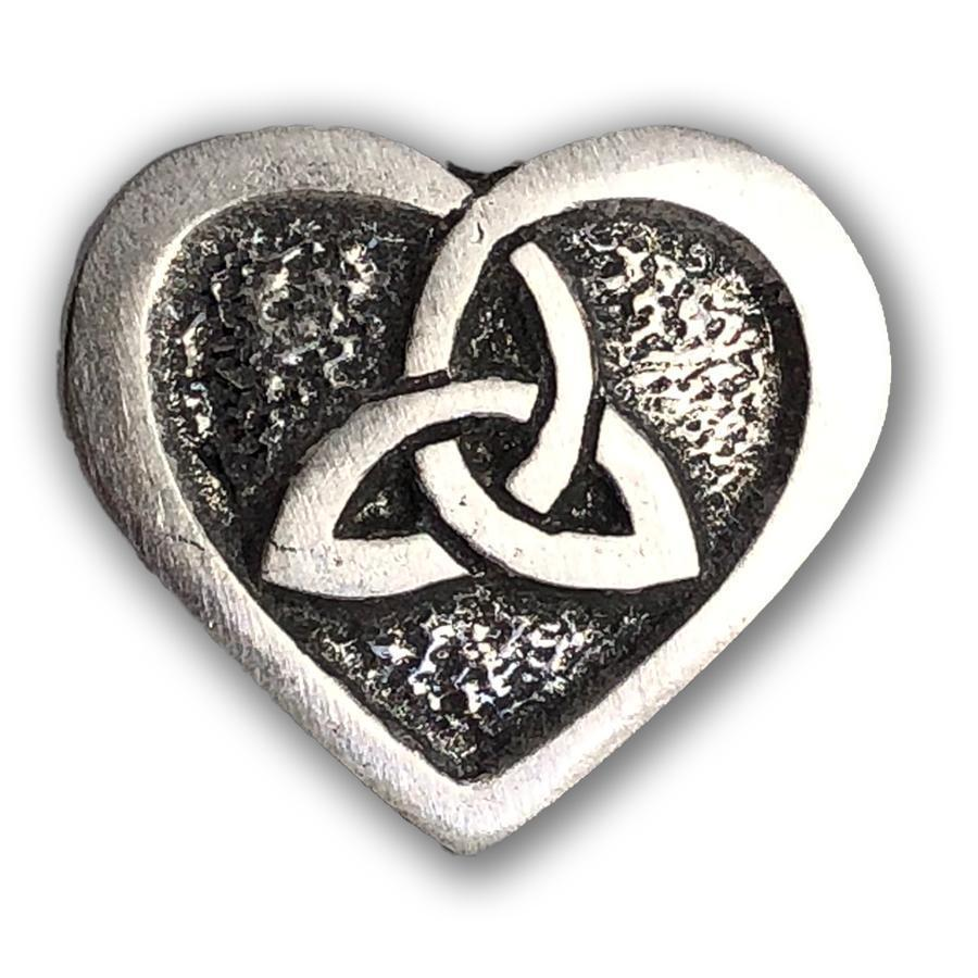 Celtic Knot Works Pin Heart of the Celts Triquetra and Heart Pewter Pin