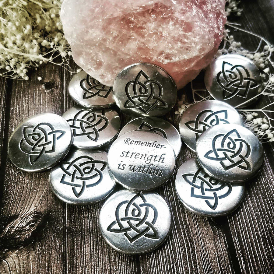Celtic Knot Works Pocket Charms Pouch of Brigids Heart blessings for Strength - Celtic Wisdom Pocket Charms 3pc bag