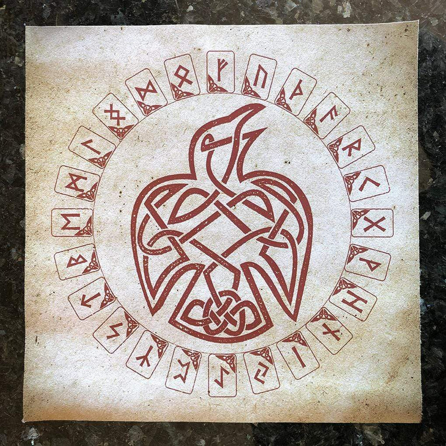 Celtic Knot Works Runes Celtic Raven Rune Cloth Casting Mat - Hearth Size