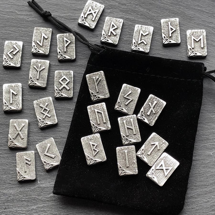 Celtic Knot Works Runes Hearth Pewter Rune Set 24pc -  Elder Futhark