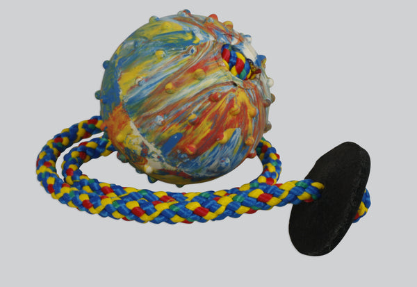 Gappay - Gappay 6 Cm - 2 1/4 In Solid Rubber Ball With 50 Cm - 19 3/4 In String and Leather Stopper - Kennel Club Gear