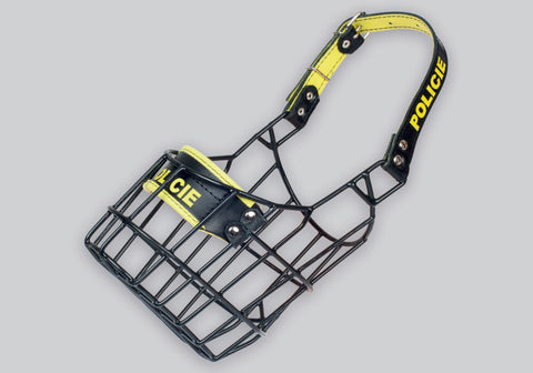 Gappay Black / Yellow Rubber Coated Wire Frame Muzzles - Police
