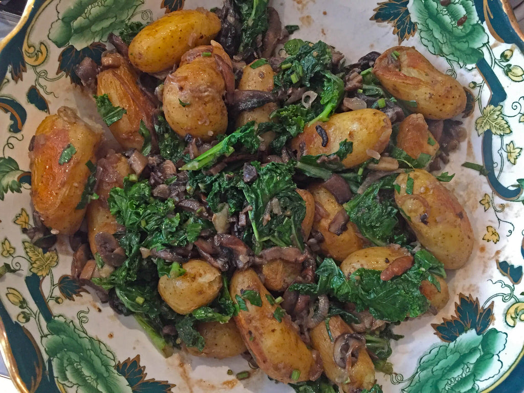 Roasted Potato with Kale, Mushroom and Shallots