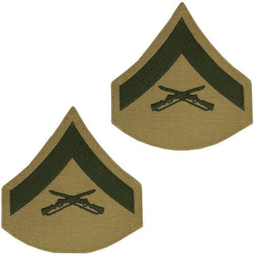 MARINE CORPS CHEVRON: LANCE CORPORAL - GREEN EMBROIDERED ON KHAKI, MALE
