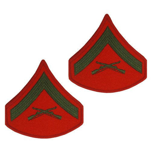 MARINE CORPS CHEVRON: LANCE CORPORAL - GREEN EMBROIDERED ON RED, FEMALE