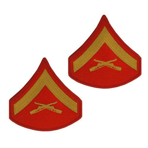 MARINE CORPS CHEVRON: LANCE CORPORAL - GOLD EMBROIDERED ON RED, FEMALE 024768122095