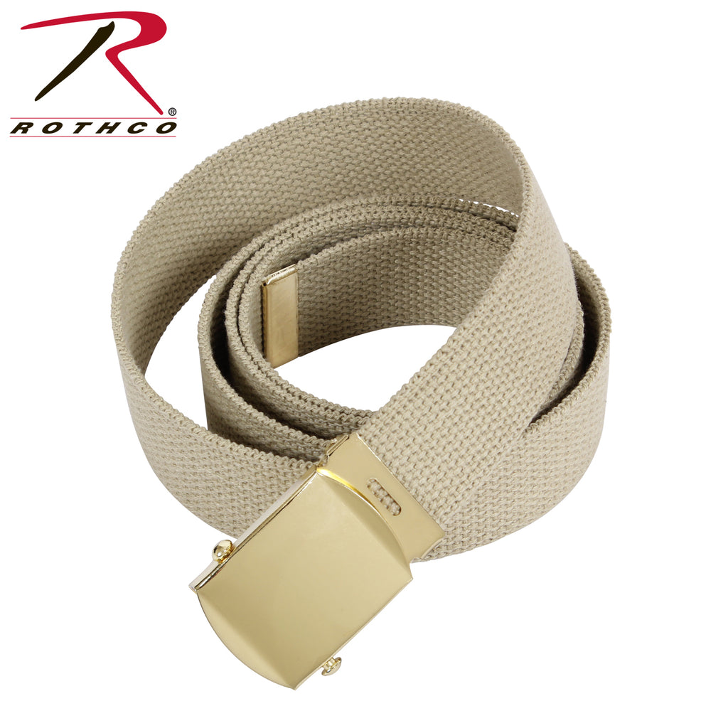 "ROTHCO 44"" KHAKI BELT WITH GOLD BUCKLE"
