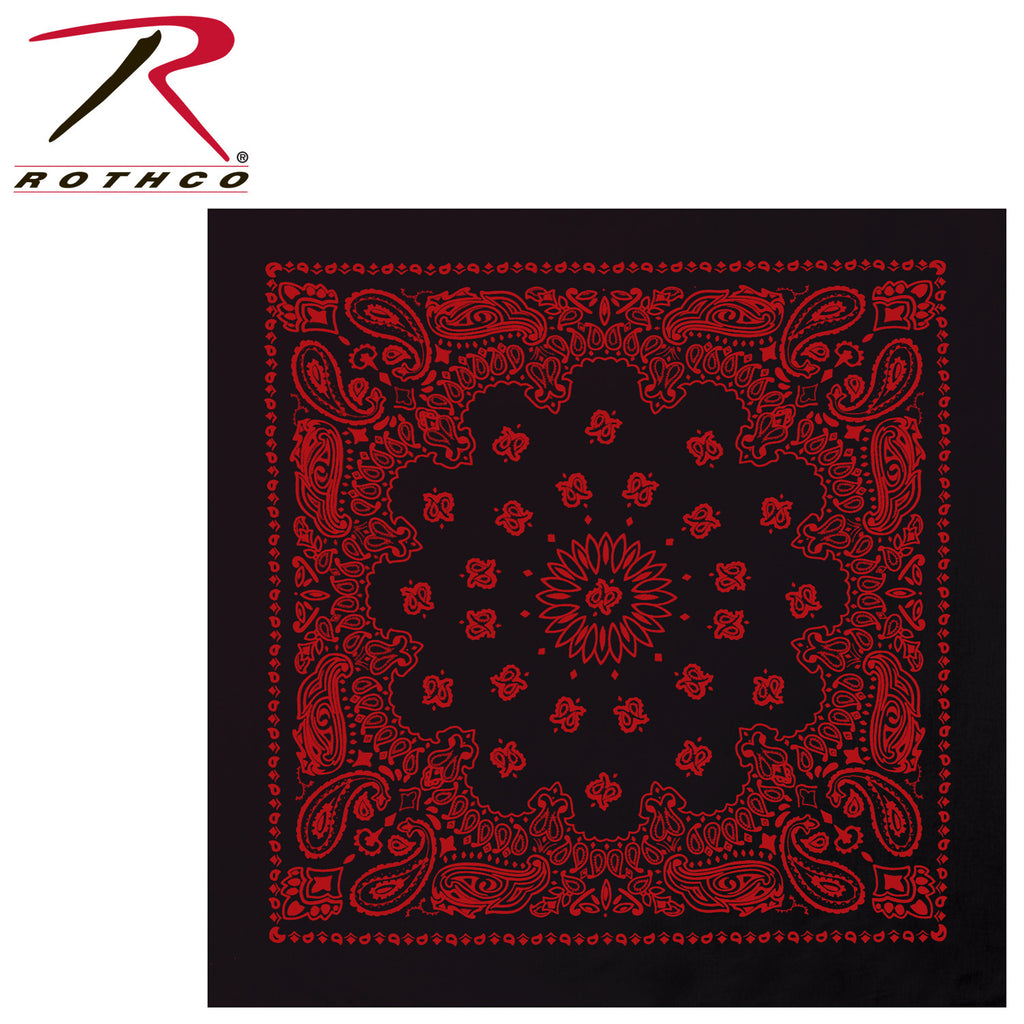 Rothco Large Trainmen Bandanas 27 Inch Black / Red